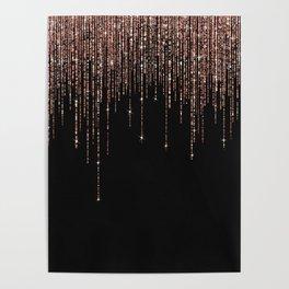 Luxury Black Rose Gold Sparkly Glitter Fringe Poster