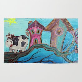Cow In A Tree Rug
