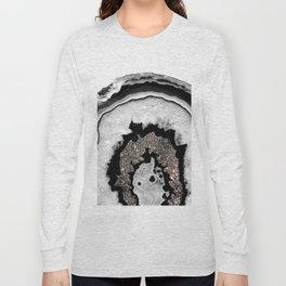Gray Black White Agate with Silver Glitter #1 #gem #decor #art #society6 Long Sleeve T-shirt