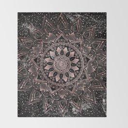 Elegant rose gold mandala dots and marble artwork Throw Blanket