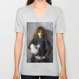 Boznańska-Girl with chrysanthemums Unisex V-Neck