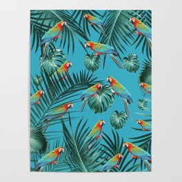 Parrots in the Tropical Jungle #1 #tropical #decor #art #society6 Poster