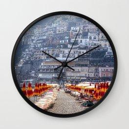 Beach Umbrellas of Positano Wall Clock