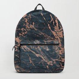 Blue & Rose Gold Marble Backpack