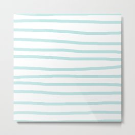 Simply Drawn Stripes Succulent Blue on White Metal Print