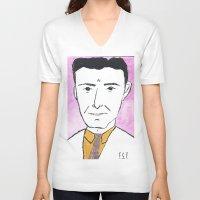 fitzgerald V-neck T-shirts featuring F. Scott Fitzgerald with a Tie by DestructionPischke