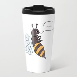 aggressive wasp attacking Travel Mug