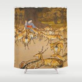 Deer in Kasuga Hiroshi Yoshida Vintage Japanese Woodblock Print Shower Curtain