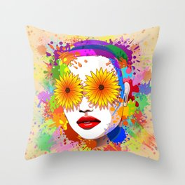 Girl Summer Flowers Eyes Throw Pillow
