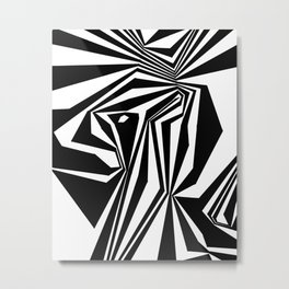 Confinement Black Ink on White Striped Geometric Drawing Metal Print