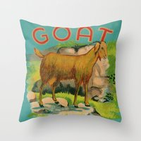 goat Throw Pillows featuring Goat! by Connie Goldman