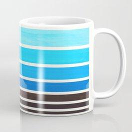 Cerulean Blue Minimalist Watercolor Mid Century Staggered Stripes Rothko Color Block Geometric Art Coffee Mug