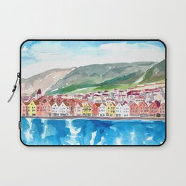 Bergen Bryggen Waterfront in Norwegian Sunshine Laptop Sleeve