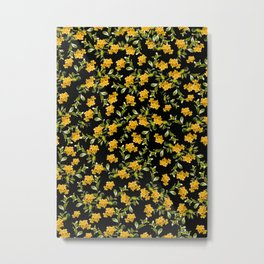 Yellow Flower Pattern #2 #spring #floral #decor #art #society6 Metal Print