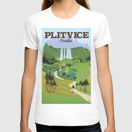 Plitvice Croatia landscape model travel poster. T-shirt