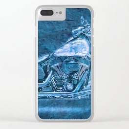 Blue motorcycle Clear iPhone Case