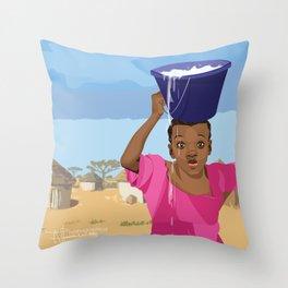 African Village Girl Throw Pillow