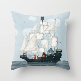 a nautical adventure Throw Pillow