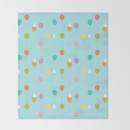 Fluffy bunnies and the rainbow balloons pattern Throw Blanket