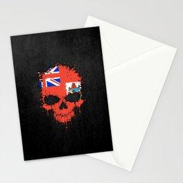 Flag of Bermuda on a Chaotic Splatter Skull Stationery Cards