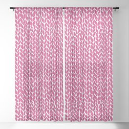 Hand Knit Hot Pink Sheer Curtain