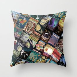 Mosaic - retro space travel Throw Pillow