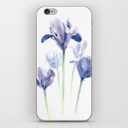 Watercolor iris print iPhone Skin