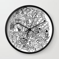 doodle Wall Clocks featuring Doodle  by Vibe-Art