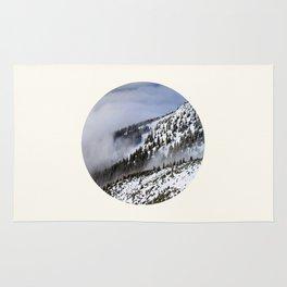 Mid Century Modern Round Circle Photo Graphic Design Winter Ski Hills Rug