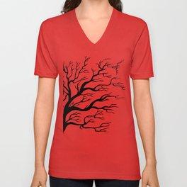 Tree on B&W Unisex V-Neck