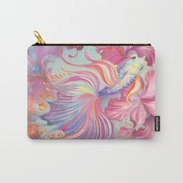 Pastel Fish Drawn Carry-All Pouch