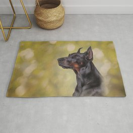 Drawing Doberman dog 2 Rug
