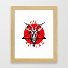 Hail seitan // vegan // baphomet Framed Art Print