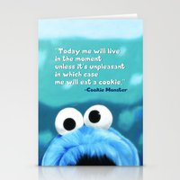 cookie monster Stationery Cards featuring Cookie Monster Motivational by Tiffany Taimoorazy