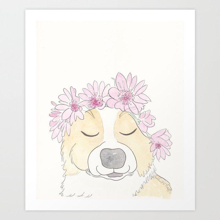 Adorable Corgi with Pink Flower Crown Art Print
