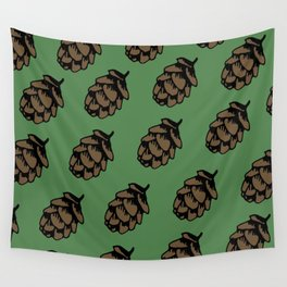 Green Pinecone Pattern Wall Tapestry