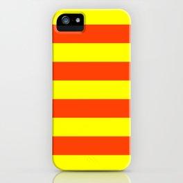 Bright Neon Orange and Yellow Horizontal Cabana Tent Stripes iPhone Case