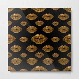 Gold Sparkle Kissing Lips Metal Print