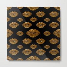 Gold Sparkle Kissing Lips Metal Print