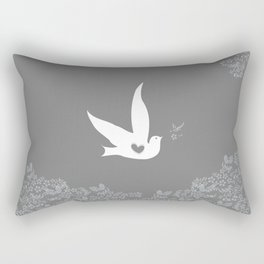 Wings of Love - Silver & Grey Rectangular Pillow