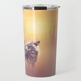 Two coyotes in the wilderness at sunset Travel Mug