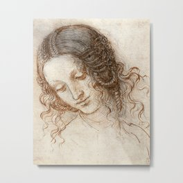 Leonardo da Vinci - Head of Leda Metal Print