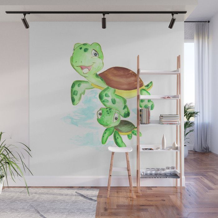 Turtle Baby And Mom Nautical Wall Decor Ocean Themed Nursery Sea Animals Watercolor Mural By Dariaart