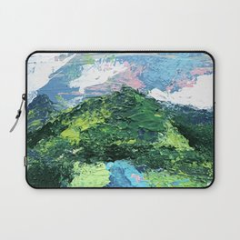 Gunnison: a vibrant acrylic mountain landscape in greens, blues, and a splash of pink Laptop Sleeve