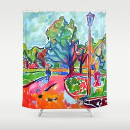 Overcast Day in the Park Shower Curtain