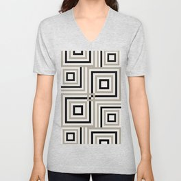 Minimalist Geometric Stripes and Squares in Black and Taupe Gray Unisex V-Neck