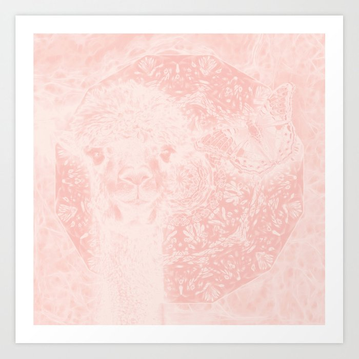 Ghostly alpaca and butterfly with mandala in Rose Quartz Art Print