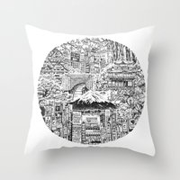 lost in translation Throw Pillows featuring Lost In Translation by Candice Soon