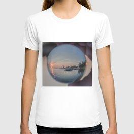 Annisquam sunset though a Crystal Ball T-shirt