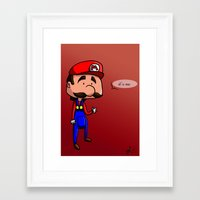 mario bros Framed Art Prints featuring Mario - Super Mario Bros by Dorian Vincenot